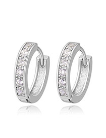 Fashion Silver Color Round Shape Diamond Decorated Simple Earrings