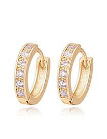 Fashion Gold Color Round Shape Diamond Decorated Simple Earrings
