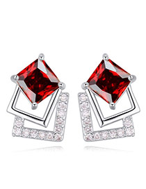 Elegant Red Square Shape Diamond Decorated Simple Earrings