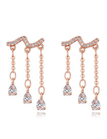 Fashion Rose Gold Oval Shape Diamond Decoratedc Simple Tassel Earrings