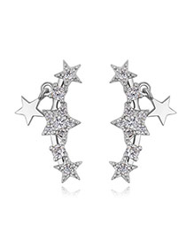 Fashion Silver Color Metal Star Decorated Simple Pure Color Earrings