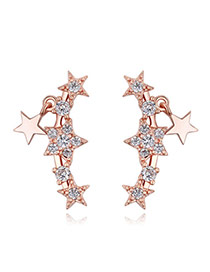 Fashion Rose Gold Metal Star Decorated Simple Pure Color Earrings