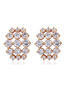 Elegant Gold Color Round Shape Diamond Decorated Simple Hollow Out Earrings