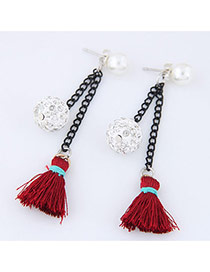 Elegant Red Tassel&round Ball Pendant Decorated Color Matching Earrings