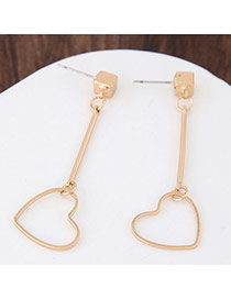 Personalized Gold Color Heart Shape Pendant Decorated Pure Color Earrings