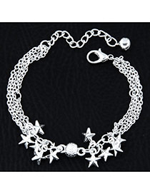 Fashion Silvercolor Star Shape Pendant Decorated Pure Color Multi-layer Bracelet