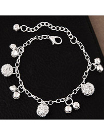 Fashion Silvercolor Small Bells Pendant Pure Color Simple Bracelet