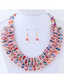 Elegant Multi-color Round Shape Diamond Decorated Color Matching Jewelry Sets