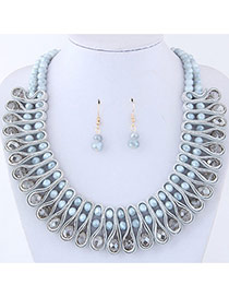 Elegant Gray Round Shape Diamond Decorated Pure Color Jewelry Sets