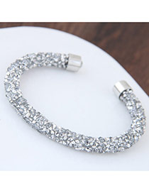 Fashion White Full Diamond Decorated Pure Color Opening Bracelet
