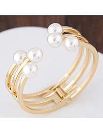 Fashion Gold Color Pearls Decorated Multi-layer Pure Color Opening Bracelet