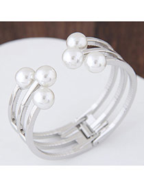 Fashion Silver Color Pearls Decorated Multi-layer Pure Color Opening Bracelet