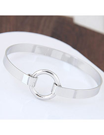 Fashion Silver Color Circular Ring Decorated Pure Color Simple Bracelet
