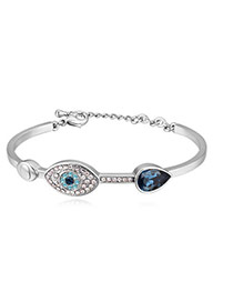 Fashion White+dark Blue Eye Shape Decorated Color Matching Simple Bracelet