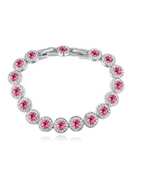 Fashion Plum Red Round Shape Diamond Decorated Pure Color Bracelet