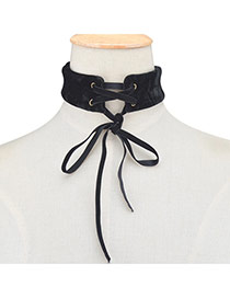 Exaggerated Black Bowknot Weaving Decorated Pure Color Chocker