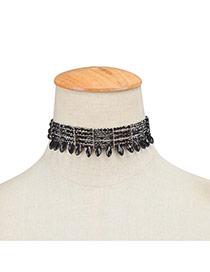 Elegant Black Beads Tassel Pendant Decorated Pure Multilayer Chocker