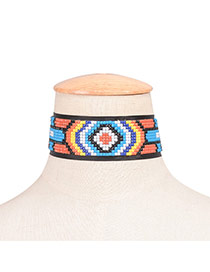 Exaggerated Multi-color Geometric Shape Decorated Color Matching Chocker