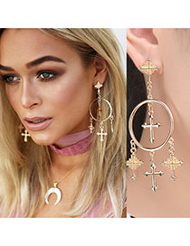 Exaggerated Gold Color Cross Shape Pendant Decorated Hollow Out Tassel Earring