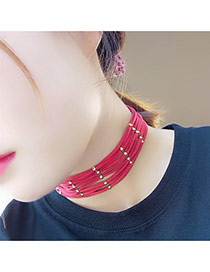Elegant Red Geometric Wool Multilayer Cross Decorated Pure Color Chocker