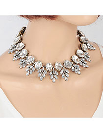 Elegant Silver Color Oval Diamond&leaf Shape Decorated Simple Chocker