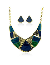 Fashion Blue Spiral Pattern Decorated Irregular Shape Jewelry Sets