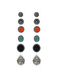 Fashion Black Gemstone&diamond Decorated Geometric Shape Earrings (6pcs)