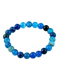 Fashion Blue Gemstone Decorated Color Matching Design Simple Bracelet