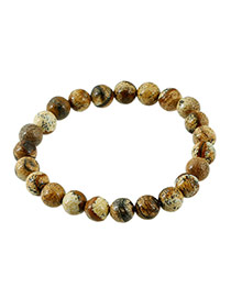 Fashion Brown Gemstone Decorated Color Matching Design Simple Bracelet