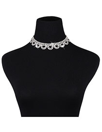 Fashion Silver Color Diamond Decorated Pure Color Hollow Out Jewelry Sets
