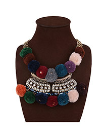Exaggerated Multi-color Fuzzy Ball Pendant Decorated Short Chain Necklace