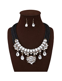 Personalized Black Water Drop Diamond Decorated Multi-layer Hand-woven Rope Jewelry Sets