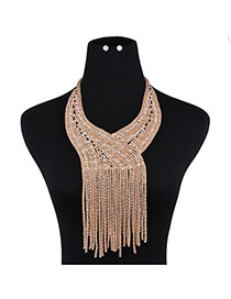 Trendy Gold Color Long Tassel Pendant Decorated Pure Color Jewelry Sets