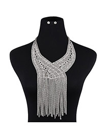 Trendy Silver Color Long Tassel Pendant Decorated Pure Color Jewelry Sets