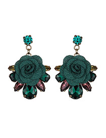 Fashion Green Flower&diamond Decorated Simple Earrings