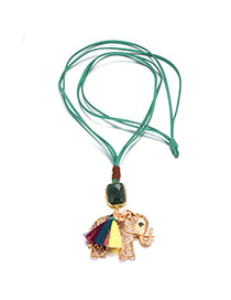 Fashion Gold Color+green Elephant Pendant Decorated Double Layer Necklace