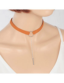 Elegant Coffee+silver Color Vertical Bar Pendant Decorated Pure Color Chocker