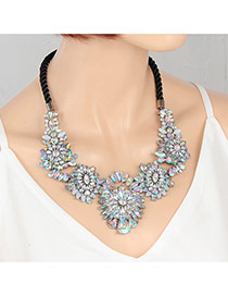 Fashion Multi-color Water Drop Shape Diamond Decorated Flower Shape Deisgn Necklace