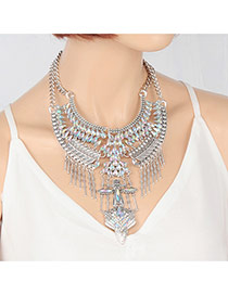 Fashion Multi-color Tassel Pendant Decorated Hollow Out Necklace