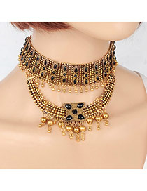 Fashion Gold Color Round Ball Pendant Decorated Color Matching Choker
