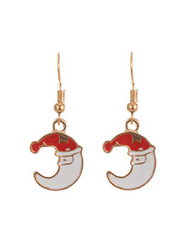 Fashion Multi-color Christmas Hat Pattern Decorated Moon Shape Earrings
