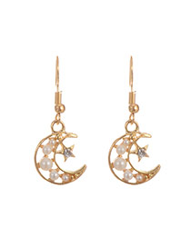 Fashion Multi-color Pearls&diamond Decorated Hollow Out Moon Earrings