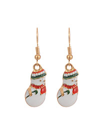 Fashion Multi-color Christmas Snowman Pendant Decorated Simple Earrings