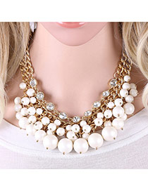 Elegant White Pearls&diamond Pendant Decorated Double Layer Necklace