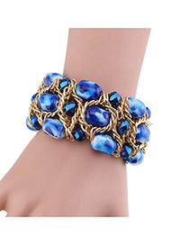 Fashion Sapphire Blue Diamond&beads Decorated Handmade Hollow Out Bracelet