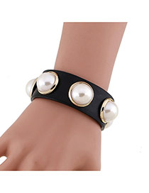 Fashion Black Pearls Decorated Simple Width Leather Bracelet
