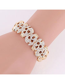 Exaggerated Gold Color Diamond Decorated Hollow Out Skull Shape Bracelet