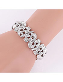 Exaggerated Silver Color Diamond Decorated Hollow Out Skull Shape Bracelet