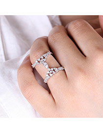Exaggerated White Oval Shape Diamond Decorated Double Layer Simple Ring