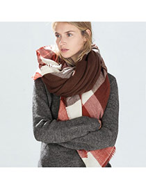 Fashion Multi-color Grid Pattern Decorated Color Matching Scarf